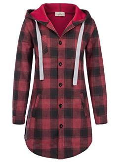 Womens Basic Solid Winter Plaid Slim Shirt Blouse L Red