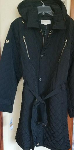 Michael Kors Belted Quilted Hooded Coat Anorak Jacket Black