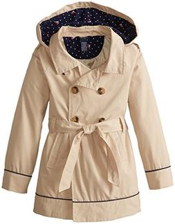 Nautica Big Girls' Belted Trench Coat, Tan, 12
