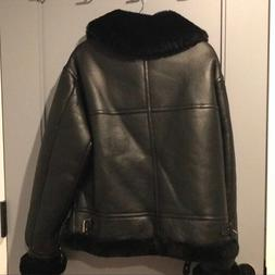 Black Faux leather Motorcycle jacket - size M - Opening Cere