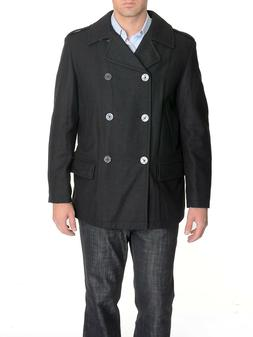 Nautica Black Wool Blend Double-Breasted Winter Peacoat w/ S