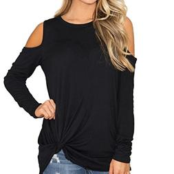 Franterd Women Blouse Solid Cold Shoulder T-Shirt Casual Kno