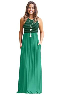 Mintsnow Womens Boho Empire Chevron Tank Top Casual Maxi Lon