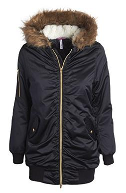Sportoli Women's Bomber Winter Puffer Jacket with Attached