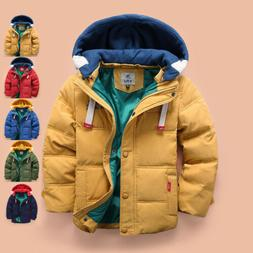 Boys Coat Parka Winter Hooded Jacket Padded Warm Quilted Puf