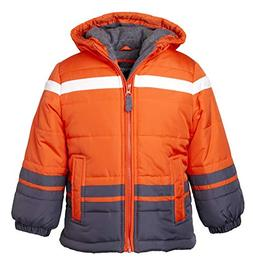 Sportoli Boys' Fleece Lined Hooded Colorblock Winter Puffer