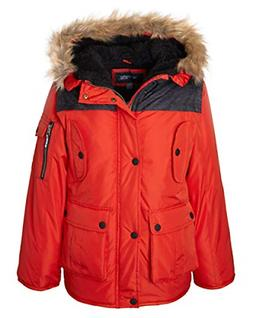 Sportoli Boys' Heavy Fleece Lined Winter Puffer Parka Coat