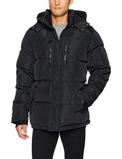 English Laundry Men's Bubble Jacket with Faux Sherpa Trim, B