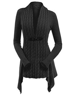 Women's Cable Knit Cardigan Sweaters - Elegant Buckle Braid