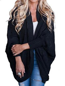 Women's Cable Knitted Cardigan Open Front Dolman Batwing Sle