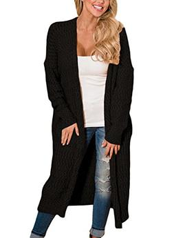 Women's Casual Knit Long Open Front Cardigan Sweaters Loose