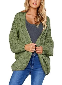 Women's Casual Long Sleeve Open Front Chunky Cable Knit Card