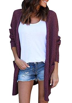 Beautife Womens Casual Loose Cardigans Open Front Knitted Sw