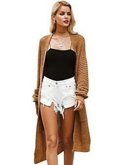 Simplee Women's Casual Open Front Long Sleeve Knit Cardigan