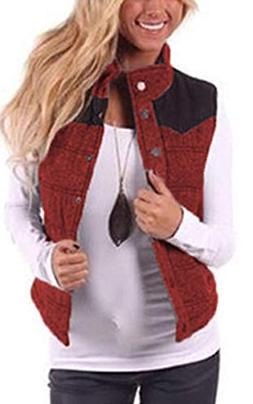 Angashion Women's Casual Sleeveless Quilted Stitching Puffer