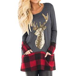 Franterd Christmas Plus Size Tops Women Christmas Plaid Spli