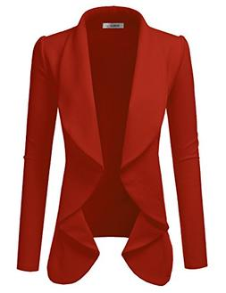 Doublju Classic Draped Open Front Blazer for Women with Plus
