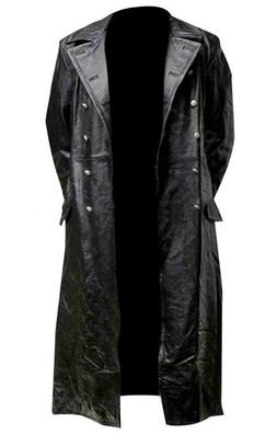Classic Officer Mens Long Black WW2 German Leather Trench Co