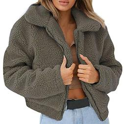 Franterd Women Coat Autumn Fuzzy Jacket Warm Artificial Wool