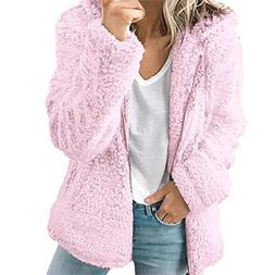 Franterd Women Coat Casual Warm Winter Fuzzy Fluffy Cardigan