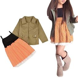 Franterd Baby Girl Coat+Dress, Clothes Outfits Set