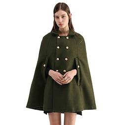 Chicwish Women's Double-Breasted Button Down Army Green Cape