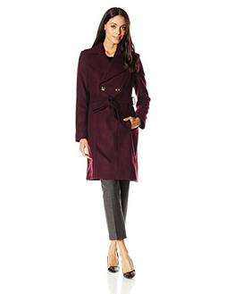 Via Spiga Women's Double Breasted Wool Coat with Belt, Port,