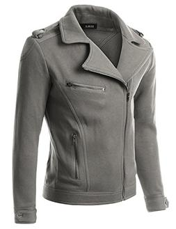 Doublju Mens Double Zipper Asymmetrical Rider Jacket, Gray,