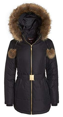 Women's Down Alternative Long Belted Puffer Coat with Fur Tr