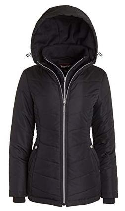 Women's Down Alternative Quilted Midlength Vestee Puffer Jac