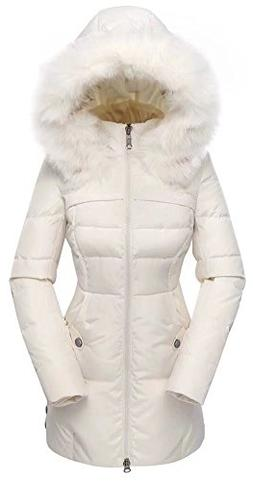 Valuker Women's Down Coat with Fur Hood 90D Parka Puffer Jac