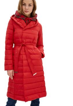 DASTI Red Hooded Long Down Winter Coat for Women Mid-Lenght