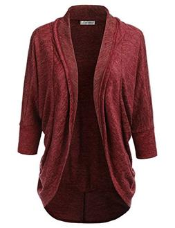 JJ Perfection Women's Draped 3/4 Dolman Sleeve Open Front Ca