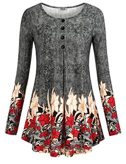 DJT Dressy Tops for Women, Womens Long Sleeves Floral Tunic