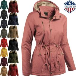 Womens COAT FUR LINED Jacket Warm Quilted Insulated Puffer W