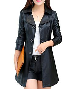 S&S-Women Elegant Classic Lapel Single Breasted Faux Leather
