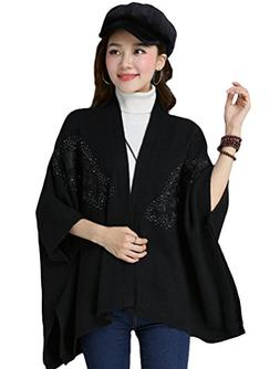 Minibee Women's Embroidery Button Open Front Poncho Knitted
