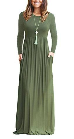Mintsnow Women's Empire Waist Casual Pockets Fall Maxi Dress