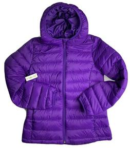 Essentials Purple Hooded Puff Coat Youth Girls Packable NWT