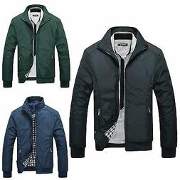 Fashion Mens Winter Slim Stand Collar Jacket Flight Bomber C