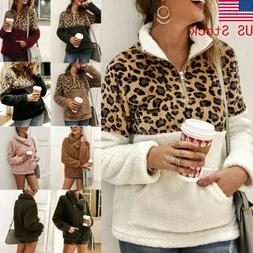 Fashion Women Leopard Coat Long Sleeve Winter Warm Zipper Po