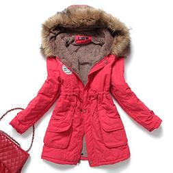Mintsnow Women's Faux Fur Hooded Cotton-Padded Parka Long Ja