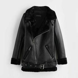 Faux Leather Winter Coats Fur Thick Warm Turn-Down Collar Ov
