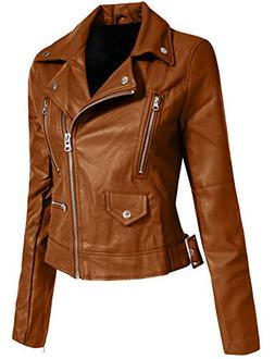J. LOVNY Women's Fitted Faux Leather Zip up Moto Jacket Hood