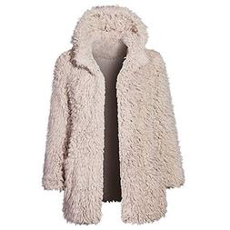 Franterd Women Fluffy Coat Winter Plush Fuzzy Thick Hoodie O