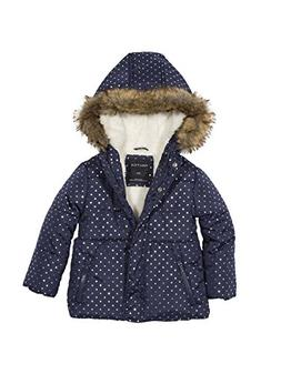 Nautica Girls' Foil Dot Print Jacket with Faux Fur Trim, Med