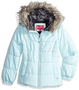 London Fog Girls' Big Quilted Puffer Jacket with Fleece Hat,