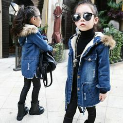Girls Denim Jacket Children Clothes Long Winter Kids Coats C