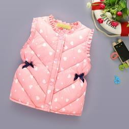 Girls Winter Coat Outerwear Heart Printed Thick Princess Ves