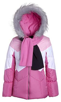Sportoli Girls' Winter Colorblock Hooded Puffer Bubble Jacke